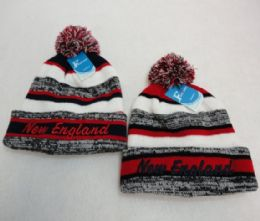 48 Units of New England Knitted Hat with Pom Pom Embroidered Stripes - Winter Beanie Hats