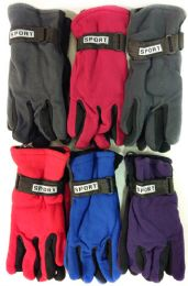 36 Units of Fleece Solid Color Winter Gloves Assorted Colors - Fleece Gloves