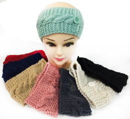 24 Units of Knitted Button Design Headbands Ear Bands Assorted - Ear Warmers