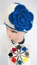 36 Units of White Background Flower Knitted Headbands - Ear Warmers