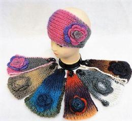 36 Units of Tie Dye Multicolor Flower Knitted Headbands - Ear Warmers