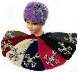36 Units of Large Rhinestone Cross Design Knitted Headband - Ear Warmers