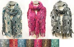 12 Units of Puffy Multicolor Bamboo Scarves - Winter Scarves