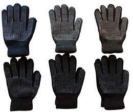 6 Pairs Of Mens excell Winter Heavy Knit Rubber Gripper Gloves - Winter Gloves