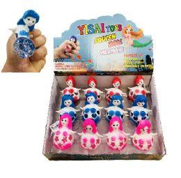 36 Units of Mesh Squish Ball--Mermaid with Glitter Beads - Slime & Squishees