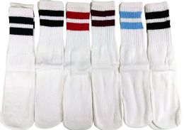 6 Pairs of excell Children's Referee Tube Socks, Boys Girls (White with Stripes) - Boys Crew Sock