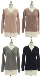 24 Units of Women's V-Neck Knit Cardigan - Womens Sweaters & Cardigan