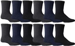 36 Units of Yacht & Smith Non Slip Gripper Bottom Men's Winter Thermal Tube Socks Size 10-13 - Mens Thermal Sock