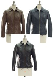 24 Units of Faux Leather Collar Jacket Assorted - Women's Winter Jackets