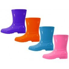 24 Units of Children's Water Proof Plain Rubber Rain Boots - Girls Boots