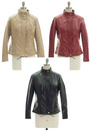 24 Units of Mandarin Collar Faux Leather Jacket Assorted - Women's Winter Jackets