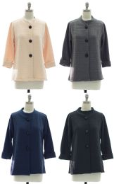24 Units of Mandarin Collar Textured Coat Assorted - Women's Winter Jackets