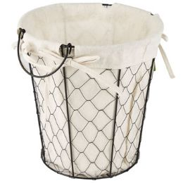24 Units of Wire Basket With/ Cotton Liner - Waste Basket