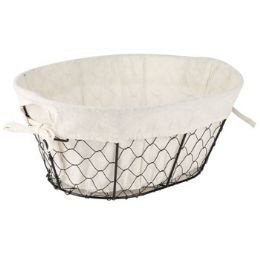 24 Units of Wire Basket With/cotton Liner Oval 14x10x5.75 Inch Sleeve Card - Waste Basket