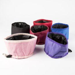 120 Units of Travel Pet Bowl 6d X 4h Foldable 45 Oz 6 Colors - Pet Accessories