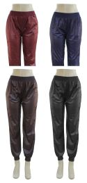 24 Units of Women's Faux Leather Jogger Pants - Womens Pants