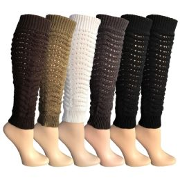 6 Units of 6 Pairs Of Womens Leg Warmers, Warm Winter Soft Acrylic Assorted Colors By Wsd (slouch) (one Size) - Womens Leg Warmers