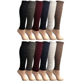12 Units of Yacht & Smith Women's Leg Warmers, Warm Winter Soft Acrylic Assorted Colors Sparkle Studs - Womens Leg Warmers