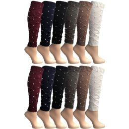 12 Units of Yacht & Smith Women's Leg Warmers, Warm Winter Soft Acrylic Assorted Colors - Womens Leg Warmers
