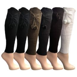Womens Leg Warmers, Warm Winter Soft Acrylic Assorted Colors by WSD (Bow & Pom) - Womens Leg Warmers