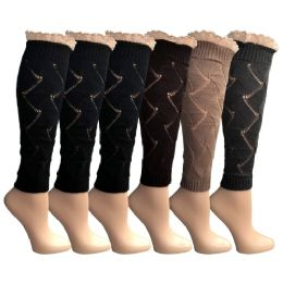 6 Units of 6 Pairs Of Womens Leg Warmers, Warm Winter Soft Acrylic Assorted Colors By Wsd (lace) (one Size) - Womens Leg Warmers