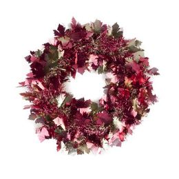 24 Units of Harvest Tinsel Wreath - Halloween & Thanksgiving