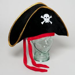24 Units of Pirate Hat Velvet Adult Size - Party Hats & Tiara