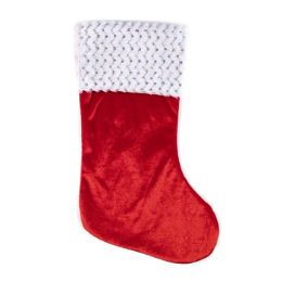 24 Units of Santa Stocking Red Velvet 18in Sequin Trim Xmas Ht/jhook - Christmas Stocking