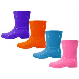 24 Units of Youth's Water Proof Plain Rubber Rain Boots - Girls Boots