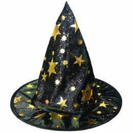 "36 Units of PARTY SOLUTIONS HALLOWEEN WITCH'S HAT 12"" GOLD FOIL PRINT KIDS SIZE - Halloween & Thanksgiving"