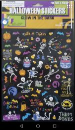 36 Units of PARTY SOLUTIONS HALLOWEEN STICKERS 1 SHEET 60 CT GLOW IN THE DARK - Halloween & Thanksgiving
