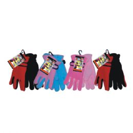 36 Units of Fleece Glove Kid Astd Colors - Fleece Gloves