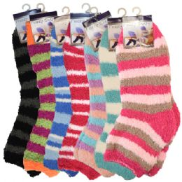 144 Units of Fuzzy Socks Stripes Assorted Colors - Womens Fuzzy Socks
