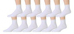 3600 Units of Yacht & Smith Men's Premium Cotton Sport Ankle Socks Size 10-13 Solid White - Sock Pallet Deals