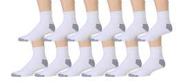 12 Units of Value Pack Of Wholesale Sock Deals Mens Ankle Socks, White / Gray 10-13 - Mens Ankle Sock