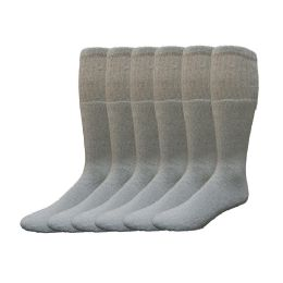 6 Units of Yacht & Smith Men's Cotton 28 Inch Tube Socks, Referee Style, Size 10-13 Solid Gray - Mens Tube Sock