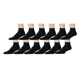 12 Units of Yacht & Smith Women's Cotton Ankle Socks Black Size 9-11 - Womens Ankle Sock