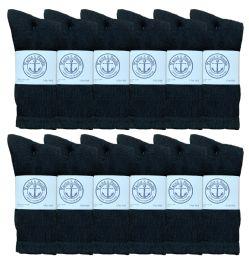 12 Units of Yacht & Smith Men's Cotton Crew Socks Black Size 10-13 - Mens Crew Socks
