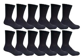 12 Units of Yacht & Smith Women's Cotton Crew Socks Black Size 9-11 - Womens Crew Sock
