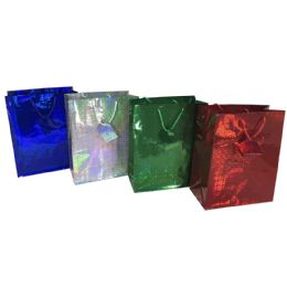 """48 Units of PARTY SOLUTIONS HOLOGRAPHIC GIFT BAG X-LARGE 13W""""X4D""""X18H"""" ASTD COLORS - Christmas Gift Bags and Boxes"""