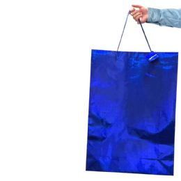 """36 Units of PARTY SOLUTIONS HOLOGRAPHIC GIFT BAG JUMBO 16W""""X7.5D""""X19H"""" ASTD COLORS - Christmas Gift Bags and Boxes"""