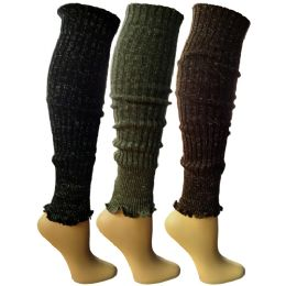 3 Units of 3 Pairs Of Womens Leg Warmers, Warm Winter Soft Acrylic Assorted Colors By Wsd (assorted c) - Womens Leg Warmers