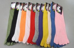 60 Units of Womens Solid color Toe Socks - Women's Toe Sock