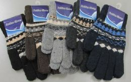180 Units of Mens Wool Thermal Winter Gloves - Knitted Stretch Gloves