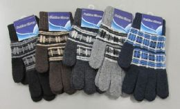 180 Units of Mens Wool Thermal Winter Stretch Gloves - Knitted Stretch Gloves