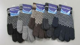 180 Units of Mens Wool Thermal Stretch Winter Gloves - Knitted Stretch Gloves