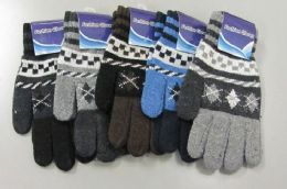 180 Units of Mens Winter Wool Thermal Stretch Gloves - Knitted Stretch Gloves