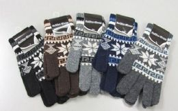 120 Units of Mens Wool Thermal Winter Stretch Gloves - Knitted Stretch Gloves
