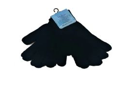 72 Units of Mens Stretch Knit Magic Gloves Black - Knitted Stretch Gloves
