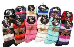 120 Units of Ladies Striped Fuzzy Winter Socks - Womens Fuzzy Socks